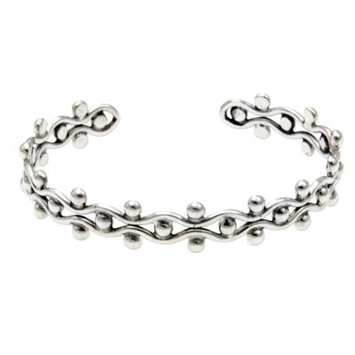 Sterling silver cuff bracelet, 'Floral Buds' - Sterling Silver Cuff Bracelet from Indonesia