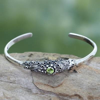 Peridot cuff bracelet, 'Coral Treasure' - Handcrafted Peridot and Silver Cuff Bracelet