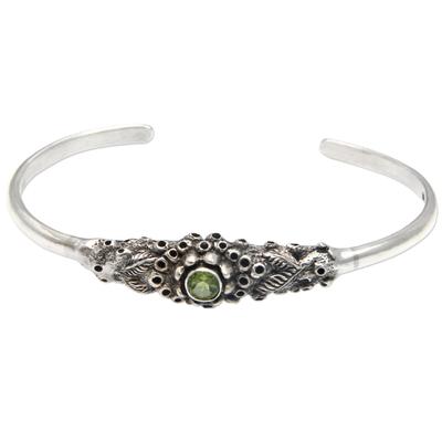 Peridot cuff bracelet, 'Coral Treasure' - Handcrafted Peridot and Silver Cuff Bracelet