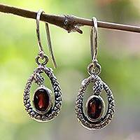 Garnet dangle earrings, 'Rainforest Goddess' - Fair Trade Sterling Silver and Garnet Snake Earrings