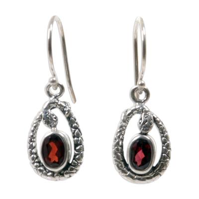 Fair Trade Sterling Silver and Garnet Snake Earrings