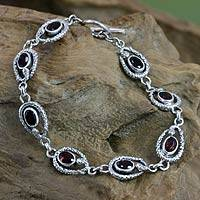 Garnet link bracelet, 'Rainforest Goddess' - Garnet and Silver Snake Bracelet