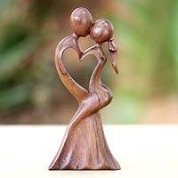 Wood sculpture, 'Love's Kiss' - Romantic Wood Sculpture from Indonesia