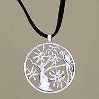 Sterling silver pendant necklace, 'Timeless Cockatoo' - Sterling silver pendant necklace