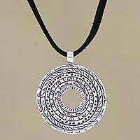 Sterling silver pendant necklace, 'Prehistoric' - Sterling silver pendant necklace