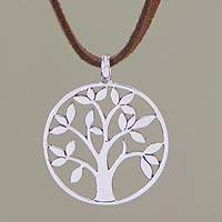 Sterling silver pendant necklace, 'Beringin Tree' - Fair Trade Sterling Silver Pendant Necklace