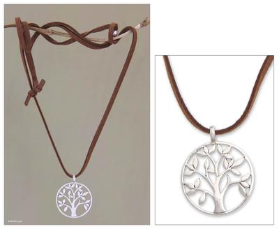 Sterling silver pendant necklace, 'Beringin Tree' - Fair Trade Sterling Silver Pendant Necklace