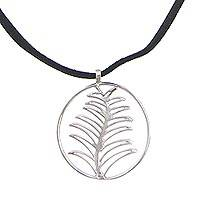 Sterling silver pendant necklace, 'Cypress Medallion' - Sterling Silver Pendant Necklace