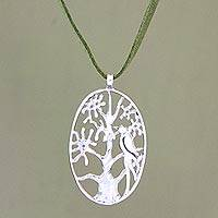Sterling silver pendant necklace, 'Wild Cockatoo' - Sterling silver pendant necklace