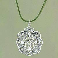 Sterling silver flower necklace, 'Water Lily on Green' - Floral Sterling Silver Pendant Necklace from Indonesia