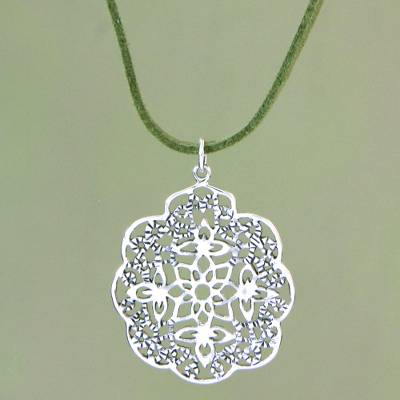 Novica Sterling silver pendant necklace, Forest Visions