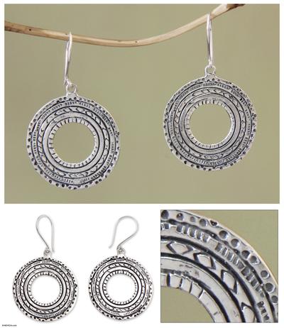Sterling silver dangle earrings, 'Prehistoric' - Sterling silver dangle earrings