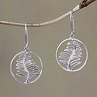 Sterling silver dangle earrings, 'Cypress Medallions' - Sterling silver dangle earrings