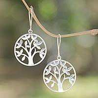 Sterling silver dangle earrings, 'Beringin Tree' - Hand Crafted Sterling Silver Earrings