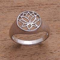 Sterling silver flower ring, 'Balinese Lotus'
