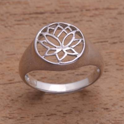 Sterling silver flower ring, 'Balinese Lotus' - Sterling Silver Flower Ring