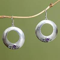 Amethyst dangle earrings, 'Celuk Moons' - Amethyst dangle earrings