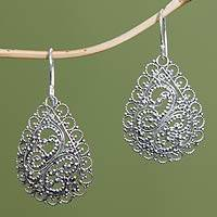 Sterling silver dangle earrings, 'Celuk Dew'