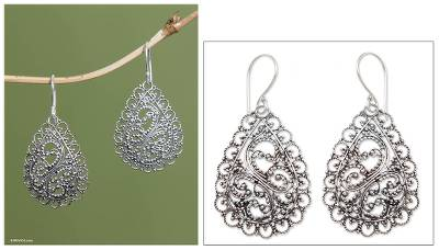 Sterling silver dangle earrings, 'Celuk Dew' - Unique Sterling Silver Dangle Earrings