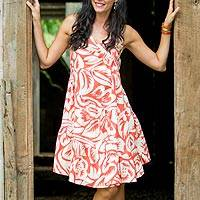 Cotton dress, 'Balinese Orange' - Cotton Batik Sundress