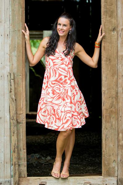 Cotton dress, 'Balinese Orange' - Cotton Batik Sundress