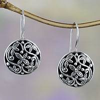 Sterling silver drop earrings, 'Night Blooming Jasmine' - Handcrafted Sterling Silver Flower Earrings