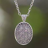 Sterling silver pendant necklace, 'Jasmine at Night' - Sterling silver pendant necklace
