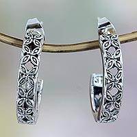 Sterling silver flower earrings, 'Kawung' - Floral Sterling Silver Half Hoop Earrings