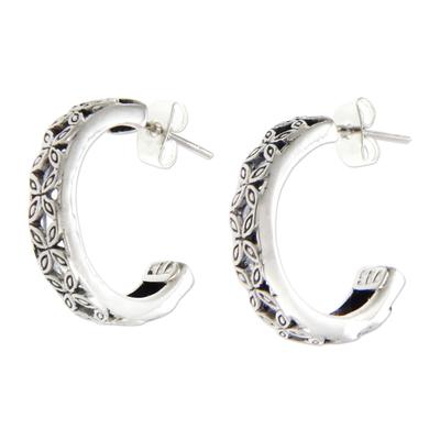 Floral Sterling Silver Half Hoop Earrings