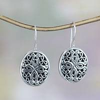 Sterling silver flower earrings, 'Grand Bali'