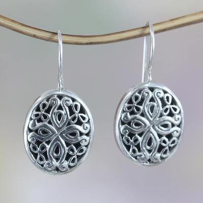 Sterling silver flower earrings, 'Grand Bali' - Unique Sterling Silver Drop Earrings