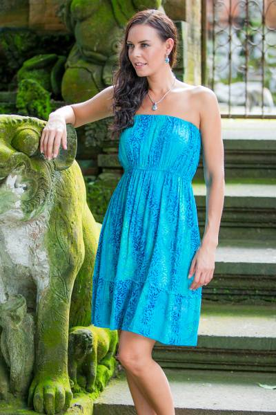 Batik strapless sundress, 'Ocean Garden' - Women's Strapless Batik Sundress