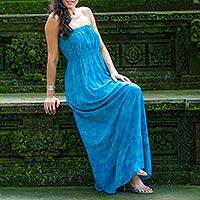 Batik strapless maxi dress, 'Indonesian Sea' - Strapless Batik Maxi Dress in Shades of Turquoise