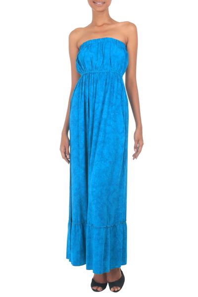 Batik strapless maxi dress, 'Indonesian Sea' - Strapless Batik Maxi Dress in Shades of Turquoise