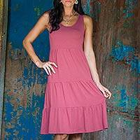 Jersey knit sundress, 'Rose Ruffles' - Jersey knit sundress