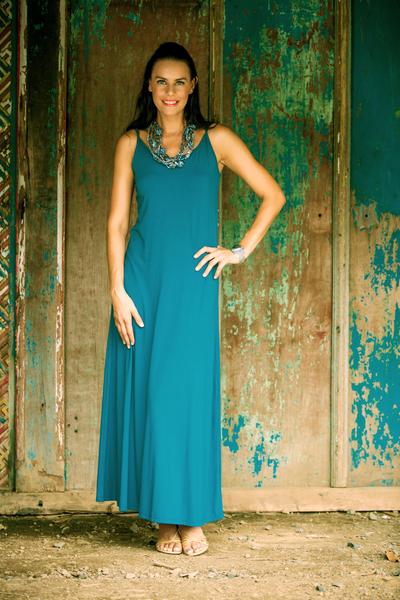 Jersey maxi dress, 'Cool Ocean Blue' - Jersey maxi dress