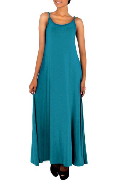 Jersey maxi dress, 'Cool Ocean Blue' - Blue-Green Jersey Maxi Dress