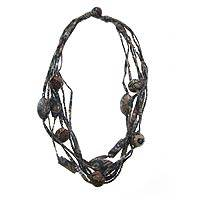 Cotton batik strand necklace, 'River Solo' - Cotton batik strand necklace
