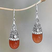 Chalcedony dangle earrings, 'Bali Tradition' - Chalcedony and rainbow moonstone dangle earrings