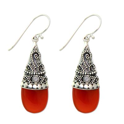 Chalcedony and rainbow moonstone dangle earrings