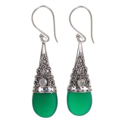 Onyx and rainbow moonstone dangle earrings, 'Bali Tradition' - Sterling Silver and Green Onyx Earrings