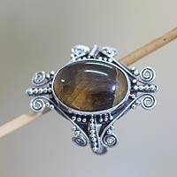Tiger's eye cocktail ring, 'Dreams of Bali' - Unique Tiger's Eye Cocktail Ring from Indonesia