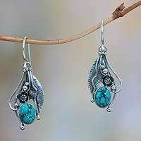 Turquoise flower earrings, 'Blue Beauty' - Reconstituted Turquoise and Sterling Silver Earrings