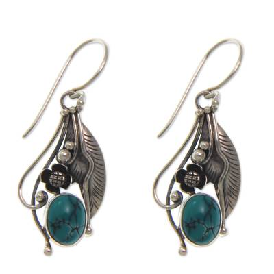 Reconstituted Turquoise and Sterling Silver Earrings
