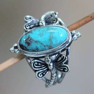 sterling silver jewelry necklaces engraved - Reconstituted Turquoise and Sterling Silver Cocktail Ring