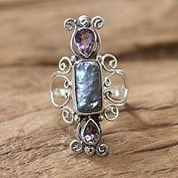 Cultured pearl and amethyst cocktail ring, 'Lavender Myths' - Pearl and Amethyst Silver Cocktail Ring