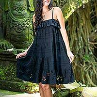 Tiered pin tuck sundress, 'Black Jasmine' - Flowing Handcrafted Floral Black Sundress