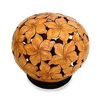 Coconut shell sculpture, 'Plumeria' - Floral Coconut Shell Sculpture