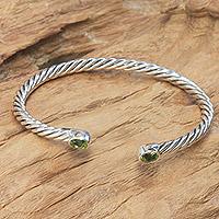 Peridot cuff bracelet, 'Bali Swirl' - Fair Trade Women's Sterling Silver and Peridot Bracelet