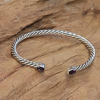 Amethyst cuff bracelet, 'Bali Swirl' - Uniquely Crafted Amethyst and Sterling Silver Bracelet